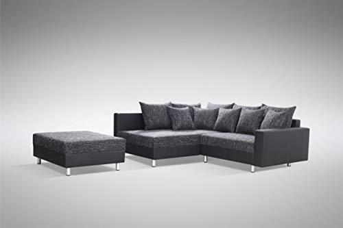 Küchen-Preisbombe Modernes Sofa Couch Ecksofa Eckcouch in schwarz Eckcouch mit Hocker - Minsk L
