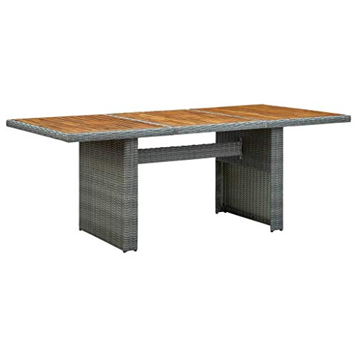 vidaXL Solid Acacia Wood Garden Table Outdoor Furniture Lightweight Wooden Patio Dining Side Coffee Dinner Table Bistro Desk Light Grey Poly Rattan