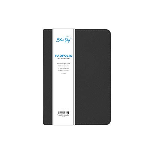"""Blue Sky Professional Padfolio, 5"""" x 8"""", Black Leather-Like Textured Cover, Paper Notepad Included"""