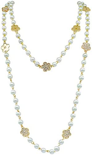 Fashion jewelry designer bridal and chic long imitation pearl clover flower strand necklace product image