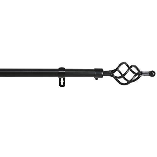 MERCURY TEXTIL Barra Sencilla Forja Universal Extensible,Barra de Cortinas Decorativa Extensible (Negro, 120-210cm)