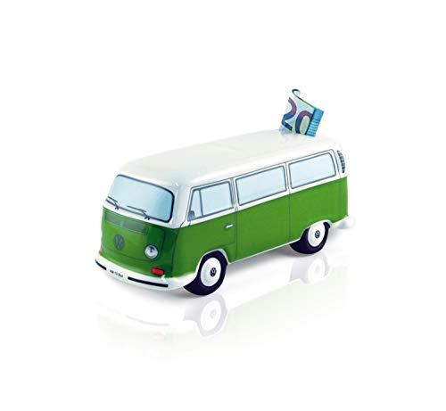 Brisa VW Collection - Volkswagen Furgoneta Hippie Bus T2 Van Hucha Vintage de Cerámica en Caja de Regalo, Caja de Dinero Reutilizable, Alcancía como Souvenir (Escala 1:22/Verde/Blanco)