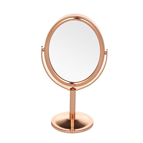 WBFN 1pcs miroir de maquillage Tabletop double face pivotant Miroir avec 2X Grossissement Outil de maquillage (Color : Gold)