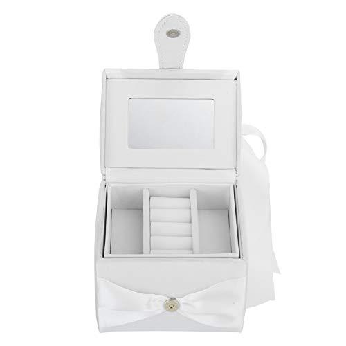 Yeelur Caja de Almacenamiento, Organizador de Joyas, Suave y Respetuoso con el Medio Ambiente Niñas duraderas para aretes Anillos Inicio(White)