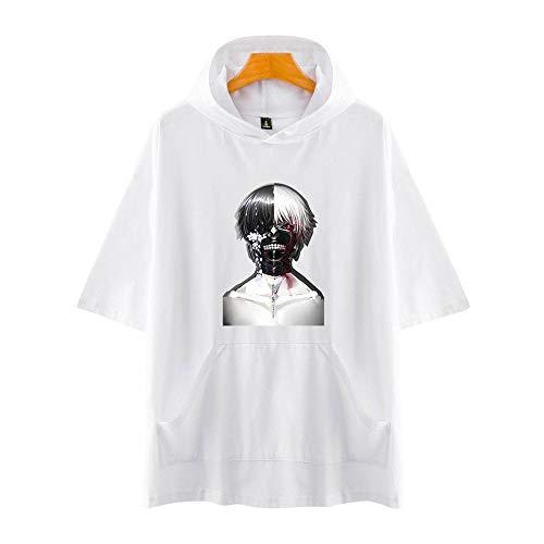 Tokyo Ghoul 3D Impresión Anime Hoodie T-Shirt Cosplay Manga Corta Camiseta Verano Pullover Tops Sudadera Con Capucha M