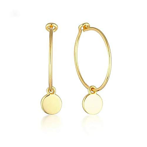 ZYMQ 925 Pendientes de aro de Plata de Ley 925 para Mujeres Simple Chapado en Oro Círculo Redondo Pendientes Joyería de Moda,Oro