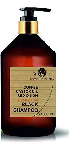 Schwarzes Koffein-Shampoo, Rizinusöl und roter Zwiebel Extrakt Anti Fall Nachwachsen der Haare Anti-Lösung regt das Haarwachstum (1000 ml)