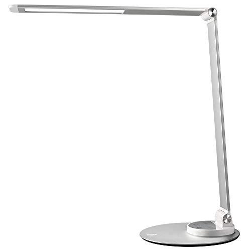 TaoTronics LED Schreibtischlampe Metall Tageslichtlampe mit 6 Helligkeits- und 3 Farbstufen, Ultradünn, augenschonende LED, Speicherfunktion, USB Ladeanschluss, Energieeffizient Silberweiß