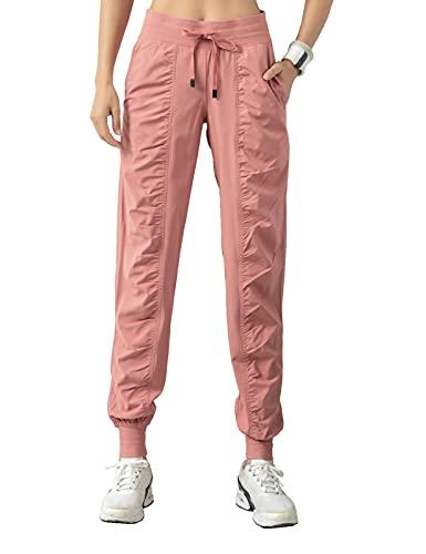 TOPLAZA Pantalones deportivos para mujer, plegados, cintura alta, con bolsillos Rosa XXL