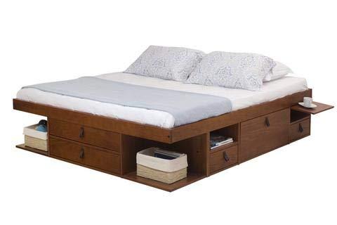Funktionsbett Bali 180x200 - Bett mit viel Stauraum und Schubladen, optimal für kleine Schlafzimmer - Modernes Stauraumbett aus Kiefer Massivholz - Preis inkl. Lattenrost