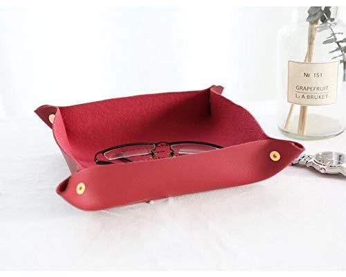 AILIFE Bandeja de almacenamiento de escritorio de cuero Caja clave Accesorios reloj Tazón de almacenamiento de cuero