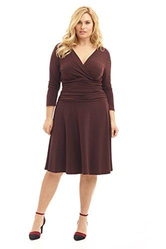 Rekucci Curvy Fit Plus Size Women's Slimming 3/4 Sleeve Tummy Control Dress (18W,Espresso)