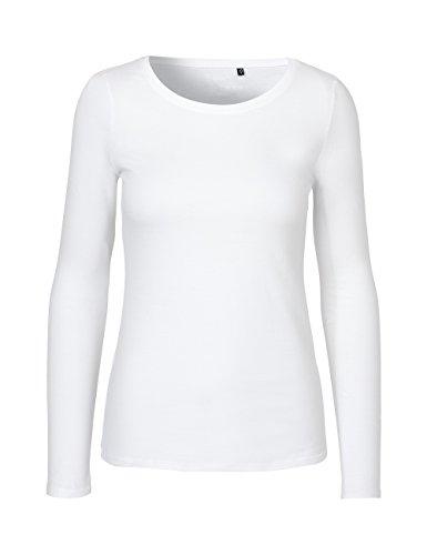Green Cat- Damen Langarmshirt, 100% Bio-Baumwolle. Fairtrade, Oeko-Tex und Ecolabel Zertifiziert, Textilfarbe: Weiss, Gr. M
