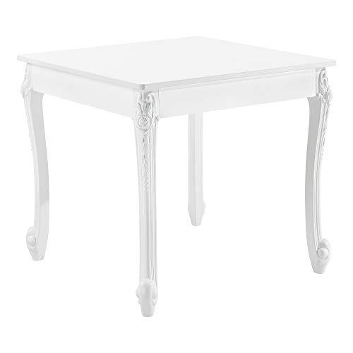 [en.casa] Esstisch für 2 Personen Küchentisch im Landhausstil Weiß Esszimmertisch Tisch Esszimmer MDF 76x80x80cm