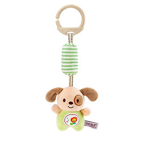 Soapow Juguete de bebé de dibujos animados Animal relleno colgante sonajero juguete para bebé cuna viaje cochecito de peluche suave con carillón de viento