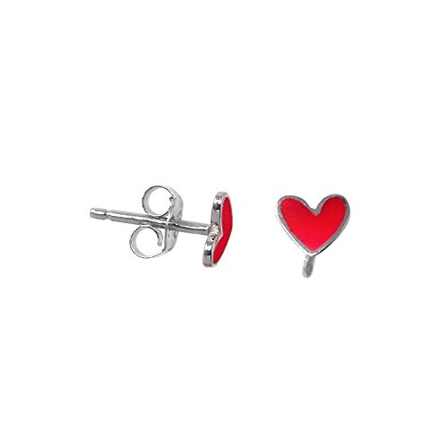 Pendientes plata Agatha Ruiz de la Prada 6mm. corazón rojo [AB5698]