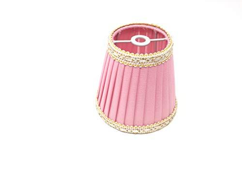 Lampenschirm Aufsteckschirm Aufsetzschirm für Kronleuchter Vintage rosa Seide Steckschirm