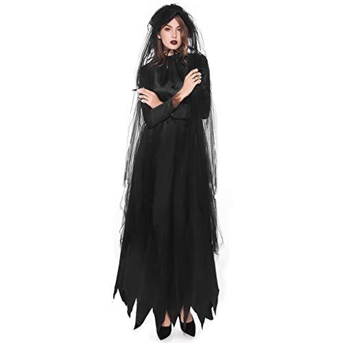 LOPILY Kostüme Damen Spitzen Vampire Kostüme mit Spitze Schleier Schwarzes Maxi Kleid Fashingskostüme Halloween Kleid Damen Karneval Hexenkostüm Damen Gothic Erwachsenenkostüme (Schwarz, 36)