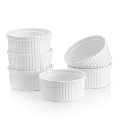 MALACASA Serie Ramekin.dish Juego de 6 Piezas Moldes para Hornear de Porcelana Mini Cuencos para Postre, Soufflé, Crema Brulée, Mollete, 11cm Ø 310ml