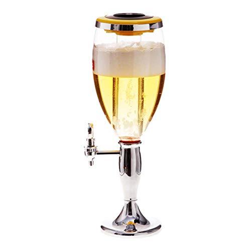 CASILE Bierspender PET-Material 1.5L Getränkespender Zapfsaule Mit LED-Leuchten und Eiszapfen für den Ice Tablett für Getränke, Wein und Fresh,Silver,1.5L