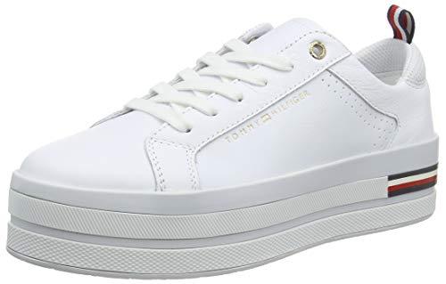 Tommy Hilfiger Damen Corporate Flatform Sneaker, Weiß (White Ybs), 41 EU