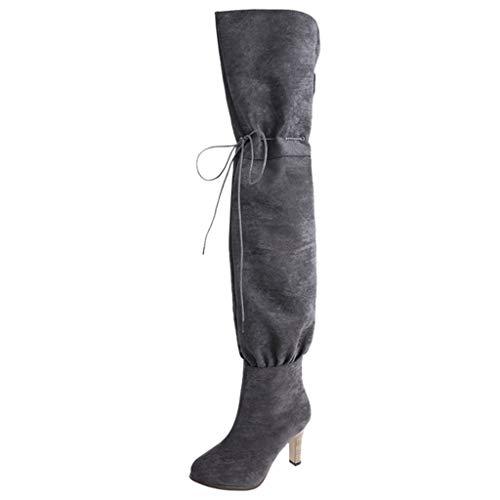 YGbuy Botas De Mujer, Botas Largas hasta La Rodilla De Tacón Alto con Cordones y Cabeza Redonda De Color Sólido Zapatos Casuales Mujer Invierno para Vestir Botas Altas Mujer Botas De Cuña Botines