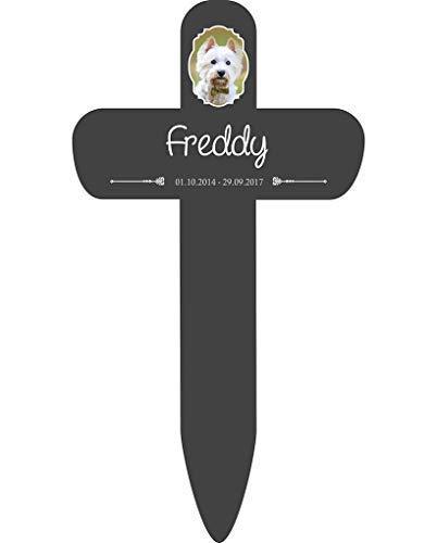 Livingstyle & Wanddesign Personalisiertes Grabkreuz fürs Haustier, mit Foto 7 in Schwarz, klein 25 x 13,5 cm