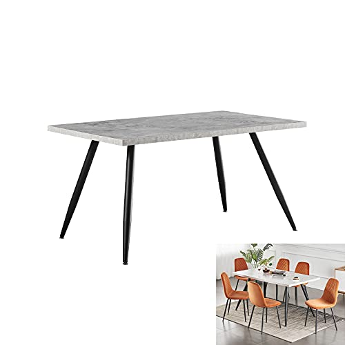 AINPECCA Dining Table with Black Metal Legs Kitchen Table (Grey Marble Effect Top, 150 * 90cm)