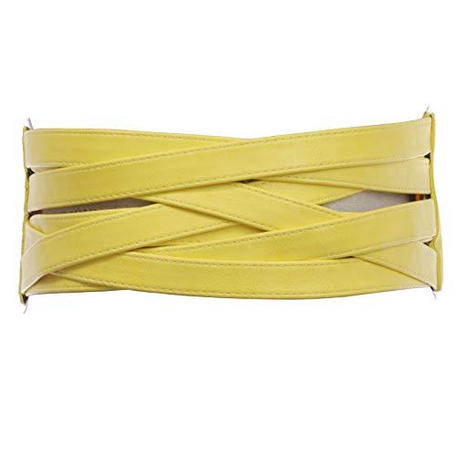 4' Women's High Waist Non Leather Fashion Wide Braided Stretch Belt, Yellow   l/xl: 38'-41'