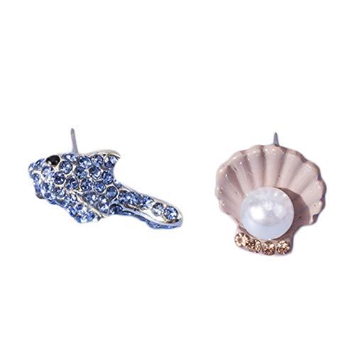 Ruby569y Pendientes colgantes para mujeres y niñas, pendientes de tuerca irregulares con perlas de imitación de cangrejo de mar, concha de estrella de mar, joyería de pez azul
