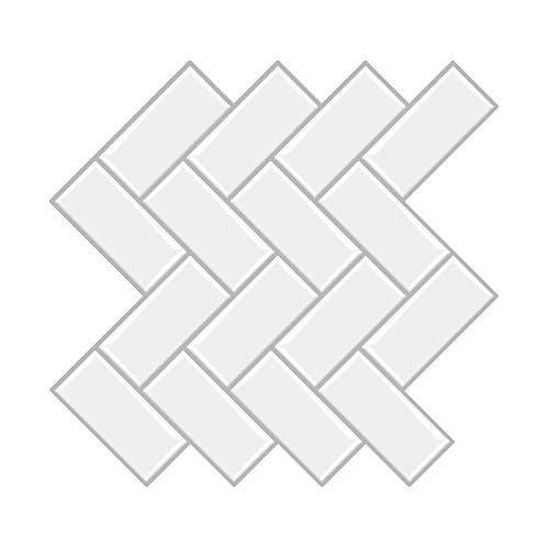 """Peel and Stick Backsplash Tile, Herringbone Decorative Wall Tile Sticker, 3D Self Adhesive for Kitchen Bathroom Laundry, White with Gray Grout Design, 12""""x12"""", 5 Sheets"""