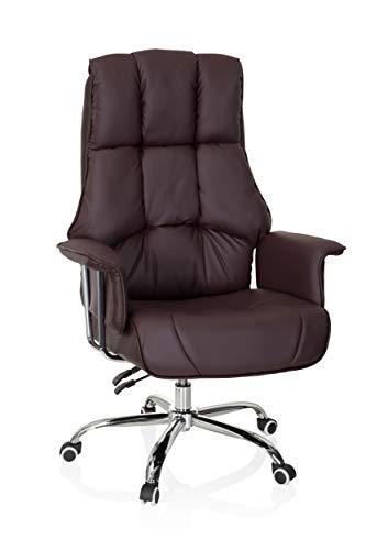 hjh OFFICE 706815 XXL Chefsessel Commander Kunstleder Braun Bürosessel dick gepolstert, Wippfunktion, hohe Rückenlehne