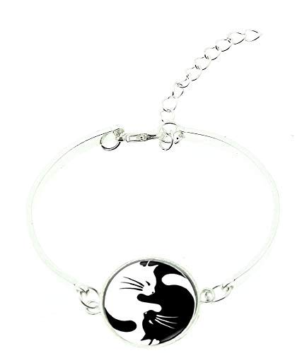 Lovelegis - Pulsera para mujer - Yin Yang - Tao - Pulsera rígida - Gatos - Bangle - Blanco - Negro - Color plata - Idea regalo