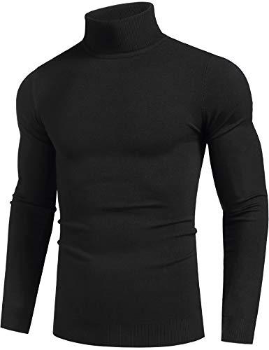 KINGBEGA Mens Basic Essential Turtleneck Thermal Long Sleeve TShirt Sweatshirt Cozy Pullover Tops Black