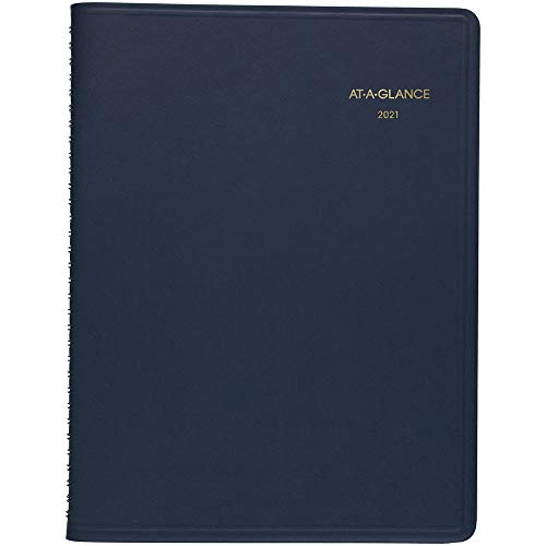 """2021 Weekly Appointment Book & Planner by AT-A-GLANCE, 8-1/4"""" x 11"""", Large, Navy (709502021)"""