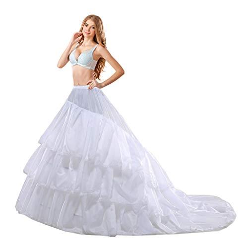 Loywe, Reifrock Petticoat mit Schleppe, aus Satin,LW4804WNB (Weiß)