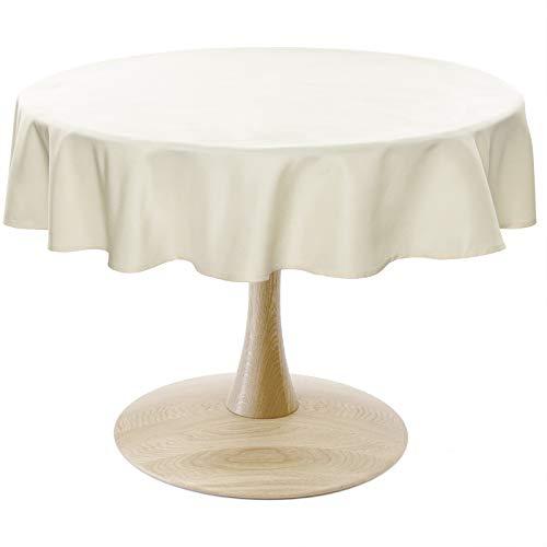 WOLTU TD3052ch Tischdecke Tischtuch Leinendecke Leinen Optik Lotuseffekt Fleckschutz pflegeleicht abwaschbar schmutzabweisend Farbe & Größe wählbar Rund 160 cm Champagne