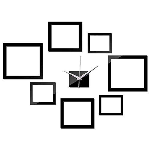 WDQTDY Nieuwe DIY Wandklok Quartz Horloge Grote Decoratieve Acryl Klokken 3D Sticker Woonkamer Multi-Stuk Set Vierkant Ontwerp Zwart