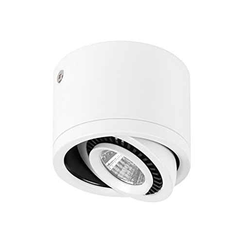 Vtuik Focos Superficie, Focos Orientable, Focos LED interior techo de aluminio blanco, 5W 500Lumen 6000K Blanco Frío, 85-265V, Foco techo redonda de metal giratoria de 360 grados