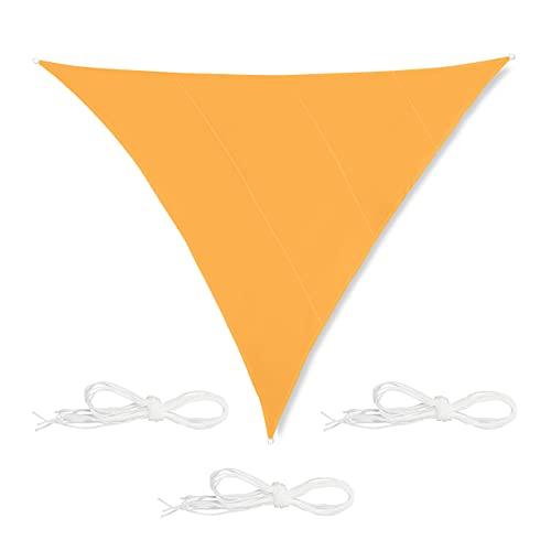 Relaxdays Toldo Vela Triangular, 6 x 6 x 6 m, Repelente al Agua, Anti-UV, con Cuerdas, Sombra, Parasol Jardín, Amarillo