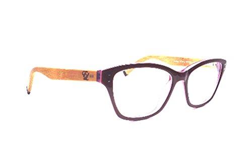 English Laundry Wheeler Rectangular Eyeglasses Frame for Women, Raspberry Bamboo Color