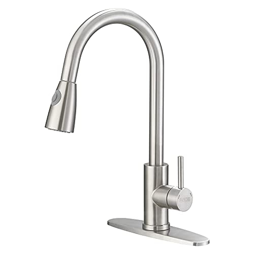Kitchen Faucet with Pull Down Sprayer Single Handle High Arc Brushed Nickel Single Level Stainless Steel Pull Out Kitchen Sink Faucet Fayche