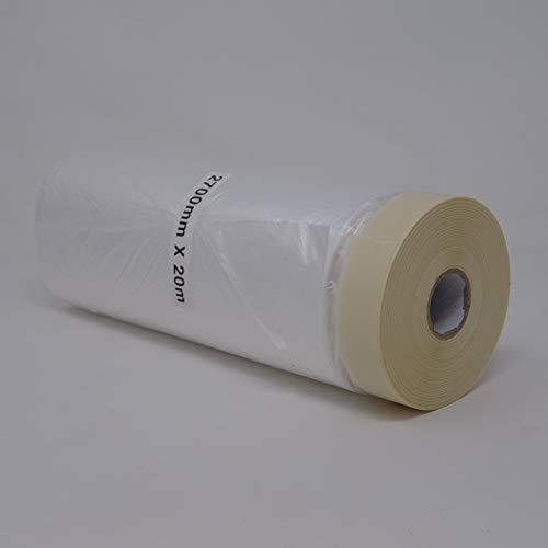 gws afdekfolie met crêpe plakband | vouwmasker voor schilder- & gipserwerken | sterke hechting & verwijderbaar | maskerband in professionele kwaliteit | Lengte: 20 m (1 rol - breedte: 2700 mm) 2700 mm x 20 m