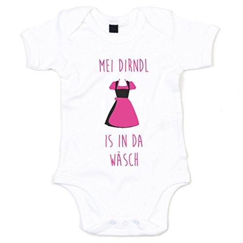 shirtdepartment Baby Body - Mei Dirndl is in da Wäsch, weiss-fuchsia, 68-80