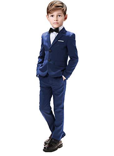 Suit for Boys Wedding 5 Pieces Suits Sets Blazer Vest Pants Shirt and Bowtie Size 7 Blue