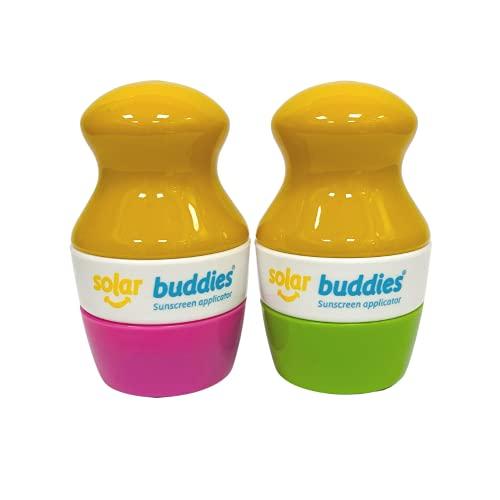 Solar Buddies Paquete de loción de crema solar rellenable para niños, adultos, familias, tamaño de viaje con capacidad para 100 ml, apto para viajes (rosa/verde)