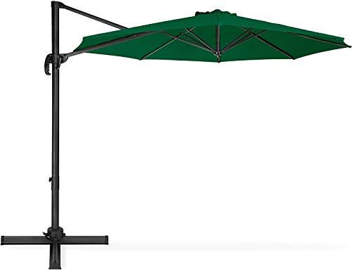 Tech Faith 10' Hanging Umbrella Patio Sun Shade Offset Outdoor Adjustable Durable Umbrella (Dark Green)
