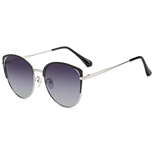 QFSLR Moda Ojo De Gato Gafas De Sol Polarizadas con Montura Metálica para Mujer Gafas De Sol 100% Protección UV