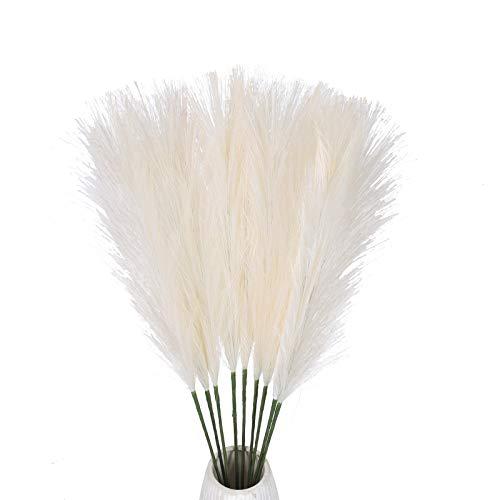 DWANCE 10PCS Pampasgras Deko Gefälschte Blumen Pampasgras Weiss Kunstblumen für Vase Zimmer Tisch Drinnen Balkon Garten Hochzeit Dekoration Weiß