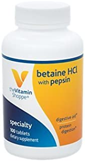 The Vitamin Shoppe Betaine HCL with Pepsin 600MG, to Support Digestion Absorption of Nutrients (100 Tablets)